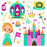 Children princess party design elements. Stickers, clip art for girls. Carriage, castle, rainbow and other fairy symbols. Children princess party design elements Royalty Free Stock Images
