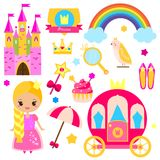 Children princess party design elements. Stickers, clip art for girls. Carriage, castle, rainbow and other fairy symbols Stock Photography