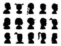 Children Profile Silhouettes Royalty Free Stock Images