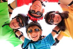 Children with protective gear Royalty Free Stock Image