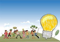 Children pulling a big idea light bulb. Group of children pulling a big idea light bulb Stock Photos