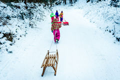 Children are pulling sledge on the mountain road in woods. Stock Photography