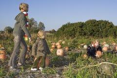 Children on pumpkin field Royalty Free Stock Image