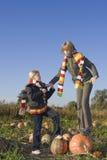 Children on pumpkin field Royalty Free Stock Photos