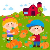 Children at the pumpkin field and farmhouse. stock illustration
