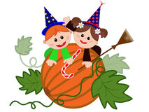 Children on the pumpkin. Stock Images
