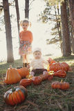 Children at pumpkin patch Stock Images