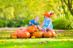 Children at pumpkin patch. Happy children at pumpkin patch during Halloween, little girl in a blue dress, boots and cowboy hat and baby boy having fun together Stock Photo