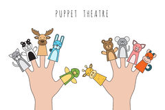 Children puppet theatre. Figures of animals, heroes of the puppet theatre which put in the fingers of the hand. Vector illustration of characters to play with Stock Images