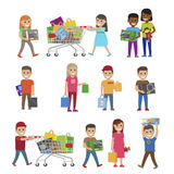 Children with Purchases Set of Icons on White Royalty Free Stock Image