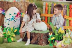 Children with Rabbit Stock Images