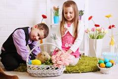 Children with rabbit Stock Photos
