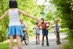 Children at race in the park Royalty Free Stock Photography
