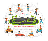 Children Racing Stadium Composition. Transport children background with sports area scenery flat images of kids and toys silhouettes with text vector Stock Photos