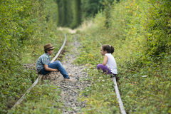 Children on the rail tracks Royalty Free Stock Photo