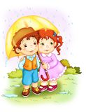 Children. The rain. Two tender children that walk with a great umbrella under the rain royalty free illustration