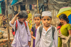 Children in rain in Bangladesh Royalty Free Stock Photography
