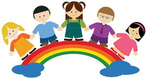 Children on rainbow Royalty Free Stock Image