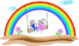 Children with rainbow Stock Photos
