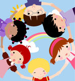 Children and rainbow Royalty Free Stock Photography