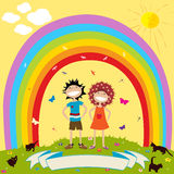 Children and rainbow. With label for text Stock Photo