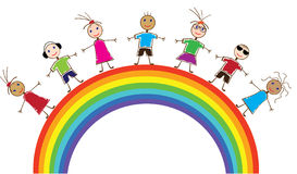 Children and rainbow Royalty Free Stock Image