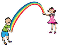 Children and rainbow. Vector illustration of a boy and a girl holding rainbow royalty free illustration