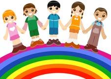 Children on Rainbow Royalty Free Stock Photos