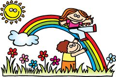 Children with rainbow Stock Photos