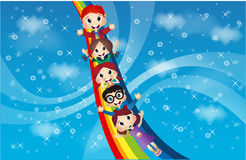 Children and rainbow in the beautiful sky Royalty Free Stock Photo