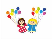 Children with rainbow colors balloons Stock Photography