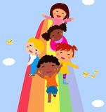 Children and rainbow. Illustration of children and rainbow Stock Images