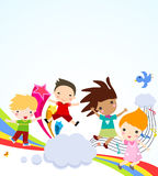 Children and rainbow Stock Image