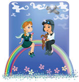 The children at the rainbow Royalty Free Stock Photo