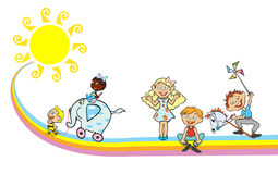 Children on the rainbow with sun Royalty Free Stock Image