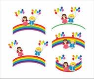 Children and rainbow Stock Image