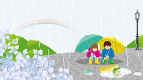 Children in Rainy day scenery-EPS10 Royalty Free Stock Photos