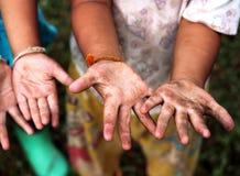 Children Raising hands. Children Show their dirty hands Royalty Free Stock Photos