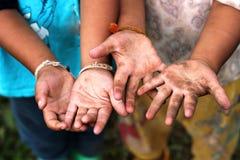 Children Raising hands. Stock Photo