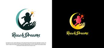Children Reach star vector logo design,dream kids
