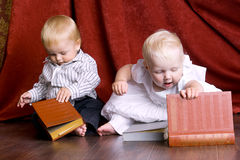 Children read books stock image