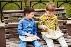 Children read books royalty free stock images