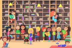 Children Read in the Library Vector Illustration. Kids study in atheneum. Clever young boys and girls read books. Schoolchildren self education. Public room royalty free illustration