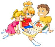 Children reading a book. Royalty Free Stock Photo