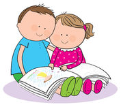 Children reading a book. Hand drawn picture of two children reading a book, illustrated in a loose style. Vector eps available royalty free illustration