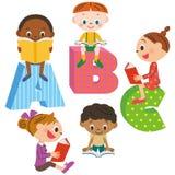 Children reading a book vector illustration