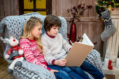 Children reading book. Engrossed children sitting on grey armchair and reading book Royalty Free Stock Images
