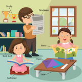 Children reading the book at home with related vocabulary index Stock Photos