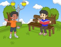 Children reading a book in the park cartoon Royalty Free Stock Photo