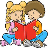 Children Reading Book Vector royalty free stock image